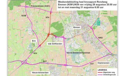 Deel N34 tussen Emmen en Erm/Sleen weekend afgesloten