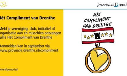 Genomineerden 'Hét compliment van Drenthe' zijn bekend