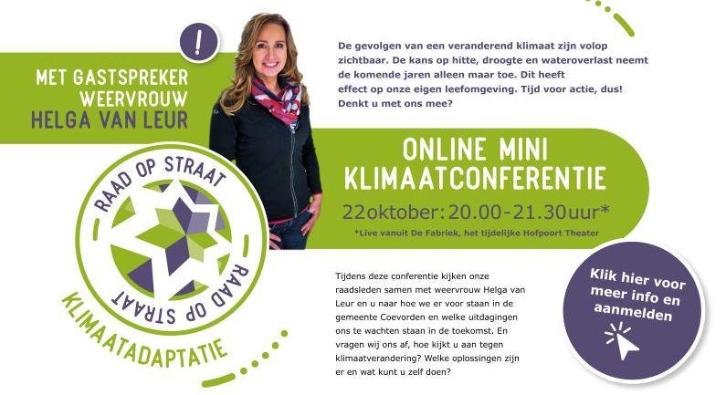 Helga van Leur voor klimaatconferentie naar Coevorden